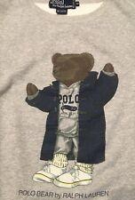 Vintage Rare Ralph Lauren Polo Duffle Bear Cotton Sweater Medium gray Stadium