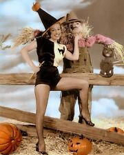 "GALE ROBBINS HALLOWEEN AMERICAN ACTRESS & SINGER 8x10"" HAND COLOR TINTED PHOTO"
