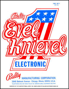 Evel Knievel Pinball Service/Repair Manual w/Fold-Out Schematics Bally PPS UA