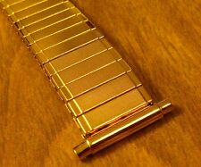 NOS Gold-Tone SS Textured Center Expansion Band W/16-21mm Adj Straight Ends