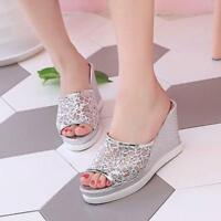 Women Sequins Wedge Heel Platform Slip On Sandals Open Toe Slippers Casual Shoes