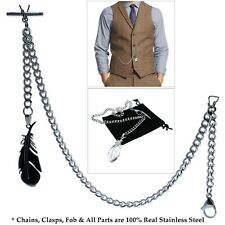 Link Chain Feather Fob T-Bar S11 Albert Chain Stainless Steel Pocket Watch Curb
