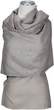 Pashmina Schal Kashmir 100% Wolle wool hand bestickt  hand embroidered Grau Grey