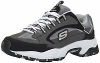 Skechers Mens Cutback 51286 Low Top Lace Up Running, Charcoal/Black, Size 10.5 N