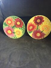 "Yellow Daisy Flower 8"" Salad Dish Plate Hand Painted Dolomite Pier One Imports"