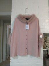 NWT Belle Fare Women's Genuine Fox Fur Cashmere Sweater Cape Poncho DUSTY PINK