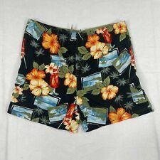 SAND N SUN Cargo Pocket Nylon Swim Short Shorts Trunks Sz L Flower Yellow Green