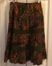 Petite Sophisticate Floral/Paisley Skirt in Browns/Oranges/Yellow Size P
