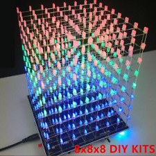 3D LED Light Cube DIY Kits 8x8x8 Music Spectrum 8S Electronic RGB With Template
