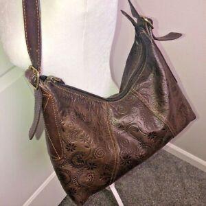 Fossil Embossed Leather Hobo Shoulder Handbag Brown Floral Tooled Medium Boho
