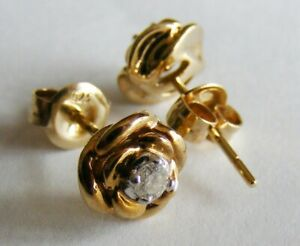 Stunning Pair of 9ct Gold Rose Design Stud Earrings with Central Diamond, by KN