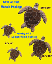 Mosaic Turtle Loggerhead Family 4 Ceramic Swim Pool Wall Shower Bar Deck walk