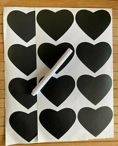 16 Heart Chalk Labels With Pen Set Blackboard Chalkboard Labels Jam Jar Stickers