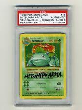 Pokemon PSA 8 NM-MINT AUTO Venusaur Shadowless Base Set Arita Signed Card 15/102
