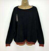 Luxury Italian Alpini Soft Jumper Black Red Burnt Orange Striped UK Size 14 16