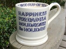 EMMA BRIDGEWATER rare . Happiness for Dad . 1/2 pint MUG . Blue