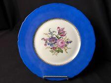 "6 Baronet 10&3/4""Dinner Plates Bohemia Czechoslovakia Blue Rim Floral Gold Edges"
