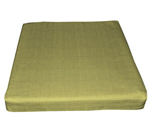 Qh05t Lime Olive Thick Cotton Blend 3D Box Sofa Seat Cushion Cover Custom Size