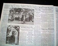 THE MASTERS TOURNAMENT Byron Nelson & Bobby Jones Golf Augusta GA 1937 Newspaper