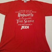 Hogwarts Shire Jedi T-Shirt Geeky Harry Potter LOTR Star Wars Adult Medium Red