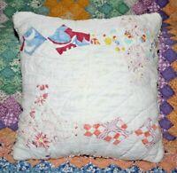 Throw Pillow From A Vintage 1930's Farmhouse Feedsack Four Point Star Quilt