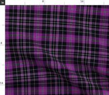 Clergy Plaid Tartan Purple Black Priest Gray Fabric Printed by Spoonflower BTY