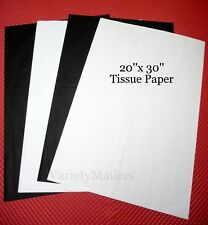 """50 Large Sheets of White & Black Tissue Paper 20""""x 30"""""""