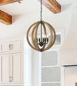 Modern Farmhouse Chandelier 6 Light Fixture Ceiling Pendant Rustic Large Wood