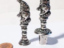 "Silver 1904 "" Mr Punch "" SEALING WAX Holder & SEAL - Initials WEW Rare Pair"