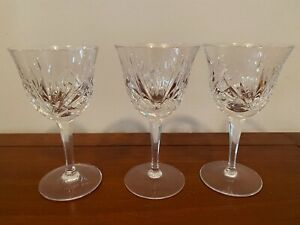 Set of 3 Gorham Cherrywood Crystal Glasses Criss Cross Fan Cuts