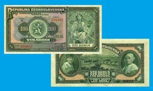 Czechoslo. 100 Korun 1920. UNC - Reproduction