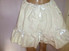 "WHITE SHINY THICK PLASTIC SKIRT FRILLY HEM SATIN WAIST + BOW TRIM 30-45"" WAIST"