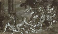 BAMBINI PUTTI  FRUTTA - Acquerello e Biacca Originale 1800 Watercolour Children