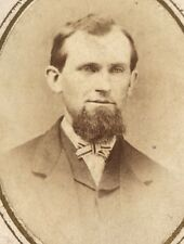 Antique Victorian CDV Photograph Goatee Man Suit Bow Tie Handsome Fashion!:)