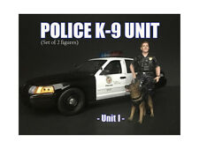 POLICE OFFICER FIGURE I W/ K9 DOG  FOR 1/18 SCALE MODELS AMERICAN DIORAMA 38163