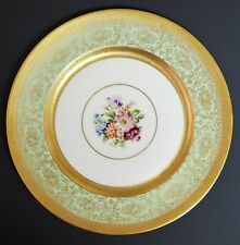 Pickard Edgerton Heinrich Set of Six Green and Gold Dinner Plates