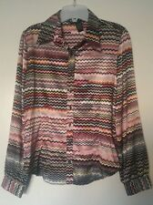 Antilia Femme Stretch Multi-color Stripes Long Sleeve Collar Blouse Size Small