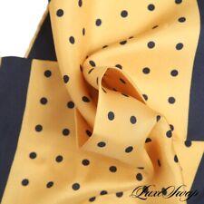 NWOT Made in Italy 100% Silk Brassy Gold Navy Pois Polka Dot Piped Pocket Square