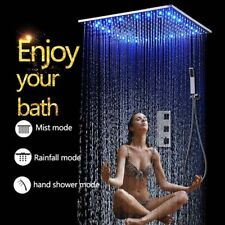 "20"" LED Rainfall Shower Heads Sets Bathroom Thermostatic Valve Faucet Bath Mixer"