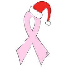 Pink Ribbon Santa Hat Pin Breast Cancer Awareness Holiday Christmas Cap Tac New