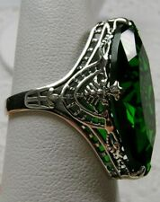 13ct Sim Emerald Art Deco 1930s Filigree Sterling Silver Ring {Made To Order}