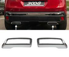 2 x Chrom Auspuff-Rahmen Abdeckung Edelstahl für Peugeot 3008 5008 II Citroen C5