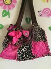 vintage rag handbag animal print and pink hand made by Jacquie K