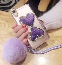 Dynamic Liquid Quicksand Chain bling Diamond Rabbit fur Ball TPU Back Case Cover