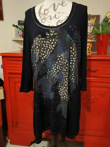 Belle Tunique Femme Col Danseuse & Manches 3/4 Marque MS Mode Taille XL en Tbe.