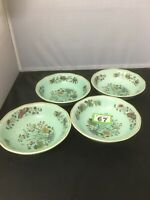 "Adams MING JADE Duck Egg Blue 4 X Cereal Bowl 6"" Diameter Pudding Bowl X 4"