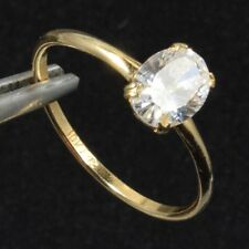Solid Gold 10kt Ladies Ring set with an 8x6 Cubic Zirconia