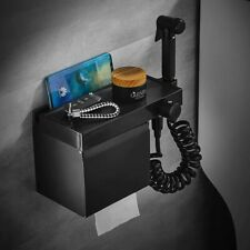 Brass Handheld Toilet Bidet Sprayer Combin Set Toilet Paper Holder Box Black