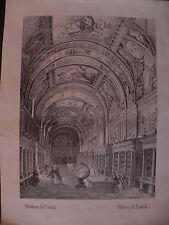 Biblioteca Escorial Madrid Spagna 1870 lito biblioteca library mappamondo globe