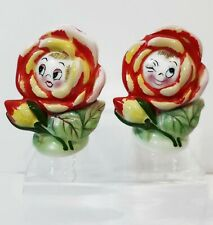 Vintage Anthropomorphic WInking Flower Face Salt Pepper Shakers Japan PY